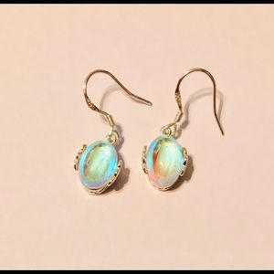 Jewelry - Lab Rainbow Moonstone Earrings in .925 / (OS) NEW!